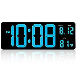 DreamSky 14.5 Inches Extra Large LED Digital Clock with Date Indoor Temperature Display, Oversized Desk Office Wall Clock with Fold Out Stand, Large Number Display, Auto DST Time Change (Light Blue)