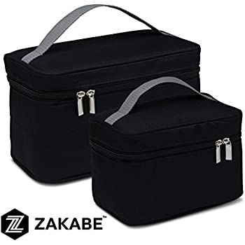 Zakabe Lunch Bag, Lunch Box, Cooler Bag, Set of 2 Sizes, Insulated, for Women, Kids, Adults, Men, Work or School - Black