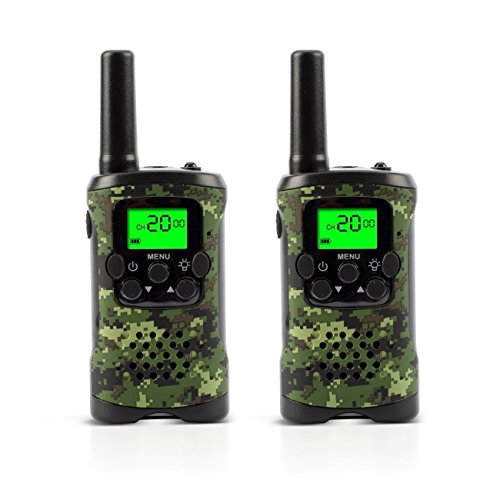 Walkie Talkies for Kids 22 Channel 2 Way Radio 3 Miles Long Range Handheld Walkie Talkies Durable Toy Best Birthday Gifts for 6 Year Old Boys and Girls fit Outdoor Adventure Game Camping (Green Camo) by SelfShow