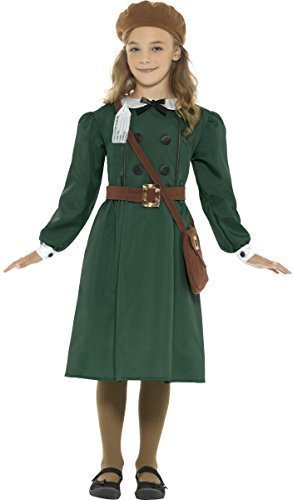Girls Teen Green 1940s WW2 WW2 4 Piece Dress Hat Bag Name Tag Evacuee World Book Day Historical Fancy Dress Costume Outfit 4-14 (12-14 years)