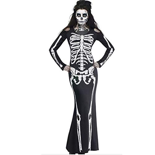 Clearance Sale! Wintialy Women Ghost Festival Horror Skeleton Skeleton Ghost Costume Party Dress M by Wintialy Dress