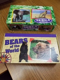 Set of 2 Nesting Pencil boxes, Animals of Africa theme, 8 9/16 in. L x 5 in. W x 2 1/4 in. H,