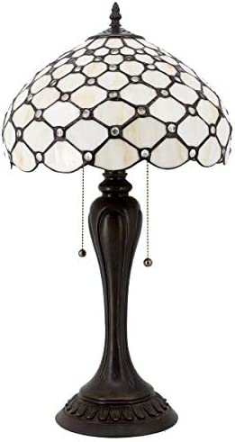 Stained Glass Lamp Cream Crystal Pearl Bead Tiffany Style Table Lighting W12H22 Inch S005 WERFACTORY Lamps Lover Friends Parents Kids Living Room Bedroom Study Office Desk Antique Art Crafts Gift