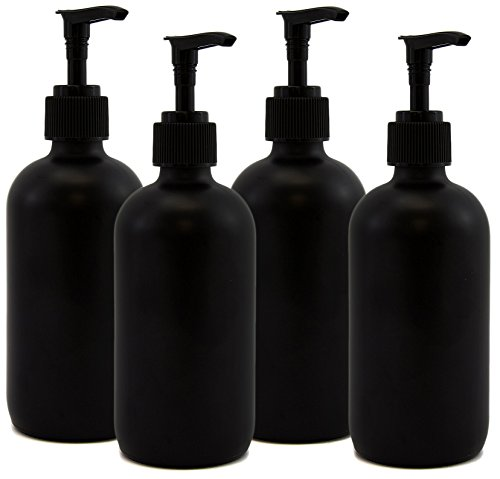 [Black Coated 8oz Boston Round Glass Bottles w/ Matte Finish, Pump Nozzles Included (4 Pack); great for lotions & liquid] (Halloween Decor Homemade)