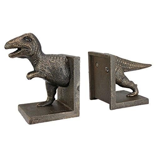 Design Toscano T-Rex Dinosaur Cast Iron Sculptural Bookend Pair, Gold