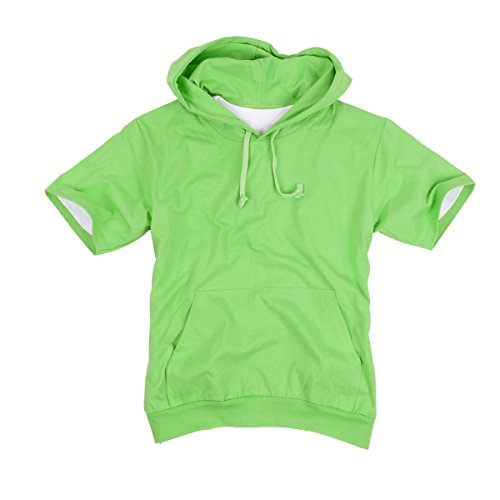 myglory77mall Mens Short Sleeve Basic Light Cotton 100% Hooded tshirt Top Tee Hoody Hoodie US S(L tag) L.Green (Hooded L/s Tee)