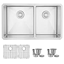 32 inch Undermount 60/40 Double Bowl Kitchen Sink, 18 or 16 Gauge Stainless Steel, 10mm Radius Corners, Luxury Basket Strainers, S-305