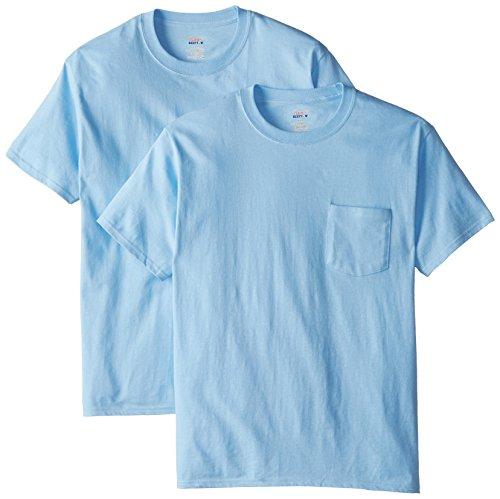 Hanes Men's 2 Pack Short Sleeve Pocket Beefy-T, Light Blue, Large