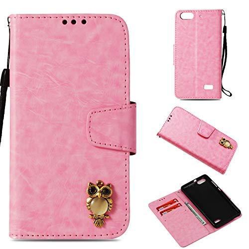 Luckyandery Huawei Honor 4C leather case,Huawei Honor 4C Flip Case thin, Book Cover with Card&Cash Slots Kickstand and Magnetic Closure for Huawei Honor 4C,Pink