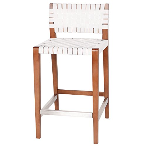 Joseph Allen JA-CS-WT-WV Shiloh White Woven Nylon Seat Counter Stool