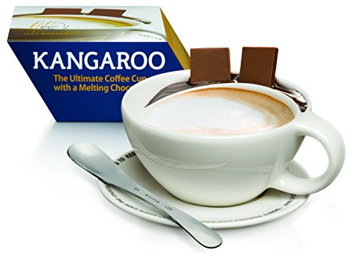 The Kangaroo Ultimate Coffee Cup with Melting Chocolate Pouch, Mix Lick Spoon, and Saucer: White Ceramic with Handle, Plate, and Stirrer by Max Brenner ()