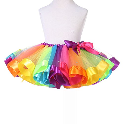 [2017 Colorful Girls/Toddlers Rainbow Color Princess Sparking Tutu Skirt Dance Ball Gown Tulle Ballet] (Dance Team Costumes Competition)