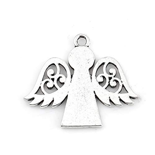 Angel Charm Pendants, 20 Pack Silver Tone About 1 Inch, Religious Jewelry or Scrapbooking Arts and Crafts (Wings Out)