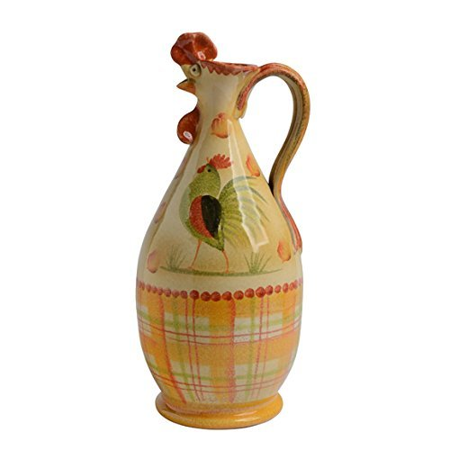Red Rooster Pitcher, Handmade in Italy – A Red Ceramic Pitcher, Italian Dinnerware, Elegant Red Rooster Kitchen Décor - Canto Del Sol Italian Home Décor for a Rooster Kitchen w/Classic Rooster Décor -