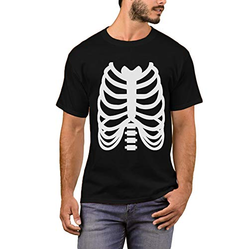 (Arvilhill Halloween Costume Mens Orange Skeleton Tops Funny Short Sleeve Party T Shirts)