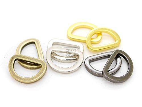 CRAFTMEmore D Rings Purse Loop Flat Metal D-ring Heavy Duty Findings for Bag Belt Strap Webbing 10 pcs 5/8, 3/4, 1 Inch (5/8 Inch, Gold)