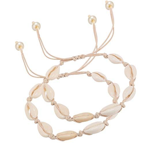 ZHQI Nature Shell Pearl Anklet Bracelet Adjustable Boho Beach Rope Handmade Foot Jewelry for Women Girls 2Pcs (White Rope Ank