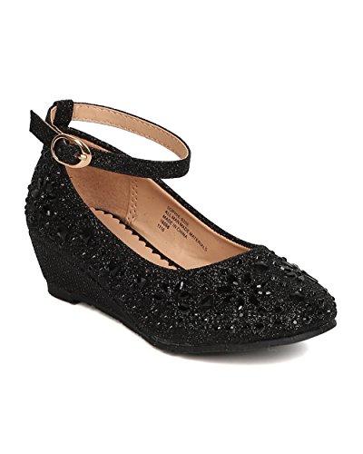 Little Angel Girls Glitter Rhinestone Wedge (Toddler Girl/Little Girl/Big  Girl)   Dressy, Wedding, Holiday   Ankle Strap Kiddie Heel   GC47 By Black ( Size: ...