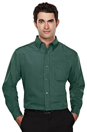 Tri-Mountain 860 Mens rayon/poly long sleeve shirt with mini-houndstooth pattern - Forest Green - (Pattern Mini Button)