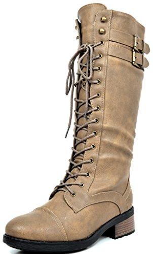 DREAM PAIRS Women's Khaki Lace Up Faux Fur Faux Leather Pu Knee High Riding Combat Winter Boots Size 9 B(M) US Georgia
