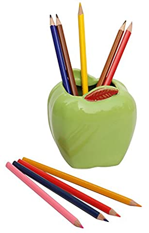 BEST DESK TIDY ORGANISER - 3.5 Apple Pen Pencil Holder / Stand / Cup - Handmade Ceramic Desk Organizers Home Office / Table Decor / Accessories