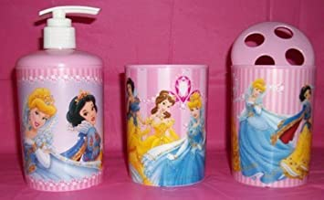 Disney Princess Pink Bathroom Set   Soap Dispenser   Cup   Toothbrush Holder