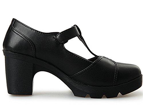 DADAWEN Women's Classic T-Strap Platform Mid-Heel Square Toe Oxfords Dress Shoes Black US Size 9 by DADAWEN (Image #5)