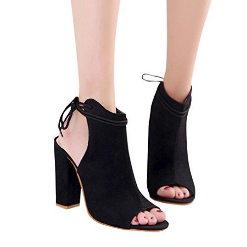 Bottines Bout Ouvert Femme,Overdose Sandales Été Chaussures Talons Sexy Similicuir High Heels Peep Toe Bottes Noir