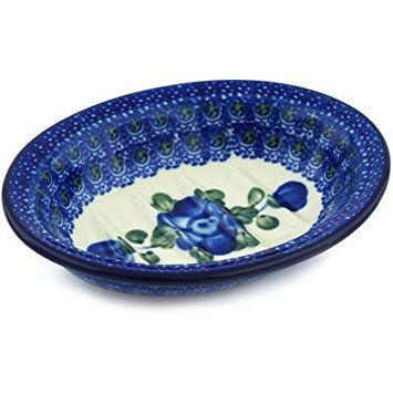 (Polish Pottery Soap Dish 5-inch Blue Poppies)