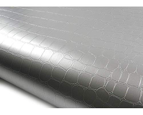 ROSEROSA Peel and Stick Flame Retardation PVC Instant Leather Pattern Decorative Self-Adhesive Film Countertop Backsplash Crocodile Silver (SF4819-3 : 2.00 Feet X 6.56 Feet) (Texture Wallpaper Crocodile)