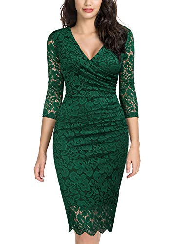 Miusol Women's Retro Deep-V Neck Ruffles Floral Lace Evening Pencil Dress (X-Large, E-Dark Green)