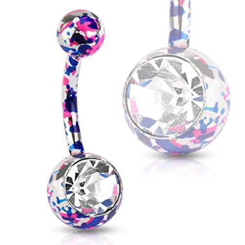 (Neon Paint Splatter Belly Ring Pierced Navel Solitaire CZ Gem Pink, Purple 14g (1pc))