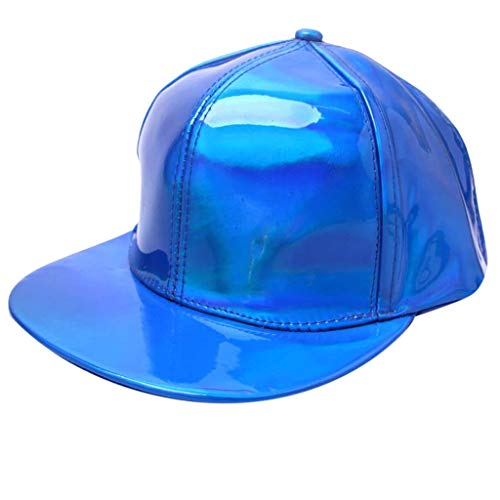 FEDULK Man Women Hip-hop Hat Solid Color Fluorescence Flat-Brimmed Cool Rock Freestyle Adjustable Baseball Caps(Blue)
