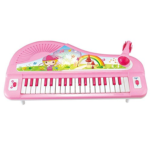 Lightahead 37 Keys Electronic Organ Keyboard Piano with Microphone – Pink
