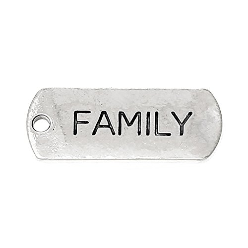 """PEPPERLONELY 30pc Antiqued Silver Alloy Message""""Family"""" Carved Rectangle Charms Pendants 21x8mm (7/8""""x3/8"""")"""