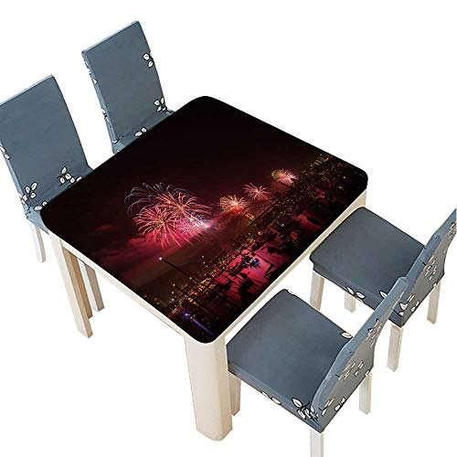 PINAFORE Jacquard Polyester Fabric Tablecloth Firework New Year eve Sydney,Australia Sydney habour Bridge. Suitable for Home use 41 x 41 INCH (Elastic Edge)