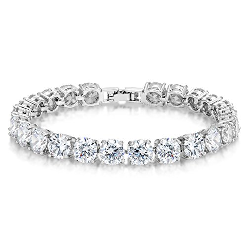 CZ Tennis Bracelet Eternity 7mm Round Cut 7 (Chain Eternity Bracelet)