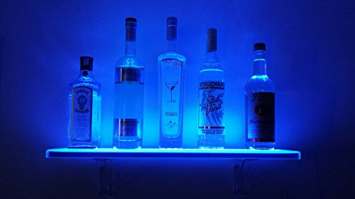 LED Liquor Shelf and Bottle Display (2 ft length) - Made in the USA! - Programmable Shelving Includes Wireless Remote, Wall Mounts, and Power Supply - COMFORTABLY HOLDS 4 - 6 BOTTLES
