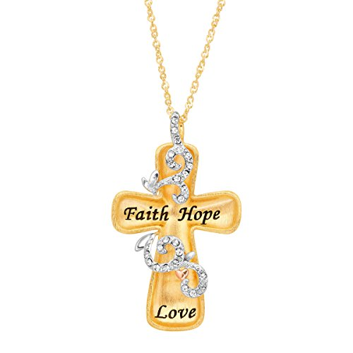 Crystaluxe Engraved Concave Cross Pendant Necklace with Swarovski Crystals in 18K Gold-Plated Sterling Silver