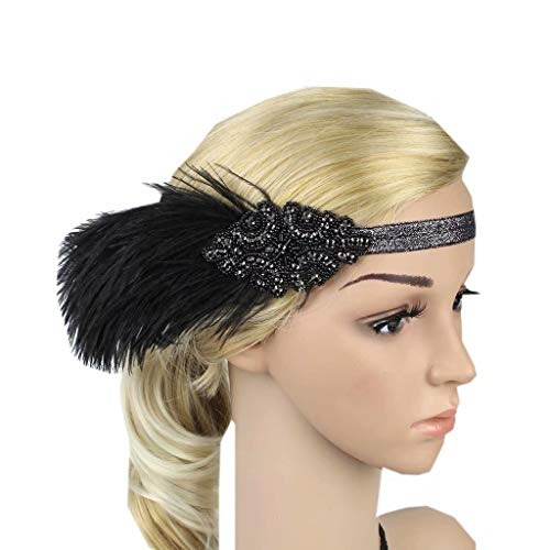 Rhinestone Sequined Hair Band Women Flapper Feather Headband ()