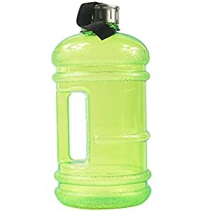 BPA Free High-Capacity Water Bottle 2.2 Liter (68 ounce) Wave Anti-Slip with Nylon Strap Easily Carry for Outdoor Sport Leisure Fitness - Green