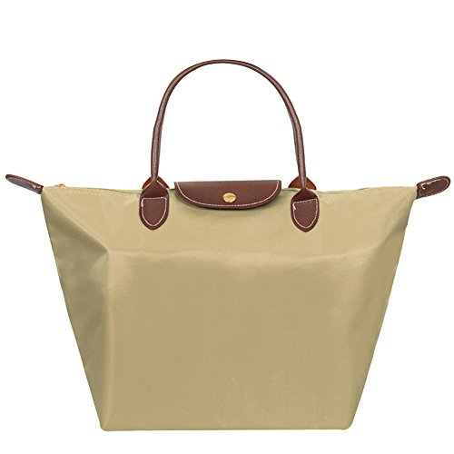 Mynos Stylish Beach Women's Waterproof Shoulder Orange Tote Handbag Brand Big khaki Fold Bag Hobos Zipper EqrzwxE51