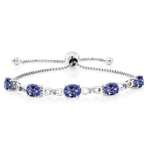 - Gem Stone King 925 Sterling Silver Adjustable Diamond Tennis Bracelet 4.00 ct Oval Mystic Topaz