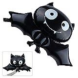 5 Pack Halloween Bat Foil Balloon, Reusable Black Bat Mylar Balloon Halloween Props Kids Toys Home Party Bar Decoration Children Gifts