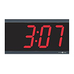 Pyramid 6-1/4 x 11-1/2 Rectangle LED Wall Clock, Black ABS Plastic Frame