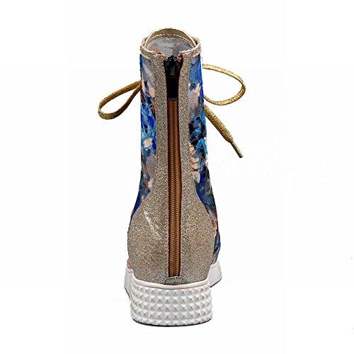 Carolbar Womens Lace Up Imprimé Floral Brodé Voile Maille Brillante Fermeture À Glissière Peep Toe Talon Compensé Été Bottes Bleu
