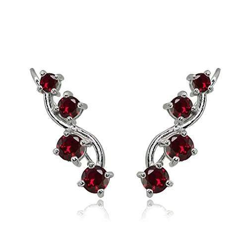 Sterling Silver Created Ruby Vine Climber Crawler Earrings ()