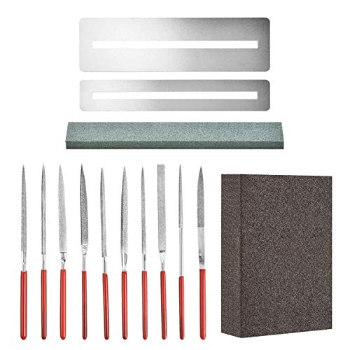 Flat Diamond Grit File Set - Including Frets Nut File Tool/Ukelele Bass Grinding Stone/Fingerboard Protector/Grinding Sponge, Luthier Repair Maintenance Tools by Esdabem