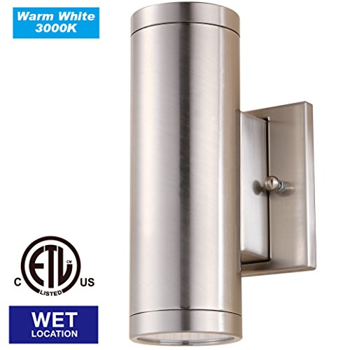 Cloudy Bay CBWL007830BN LED Outdoor Wall Sconce, Up and Down Wall Light ,3000K Warm White 12W 840lm- 60W Incandescent Equivalent, ETL Energy Star Certified, Brushed Nickel - Energy Star Outdoor Wall Light