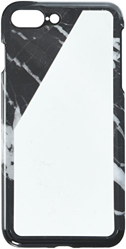 candywirez Clear White Slant Snap Case for iPhone 7 Plus - Black Marble Slant - Shock-Proof Band - Rubberized Inner Lining - 360 Protective ()